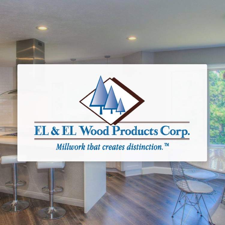 El & El Wood Products Corp logo with tagline Millwork that creates distinction and millwork in background