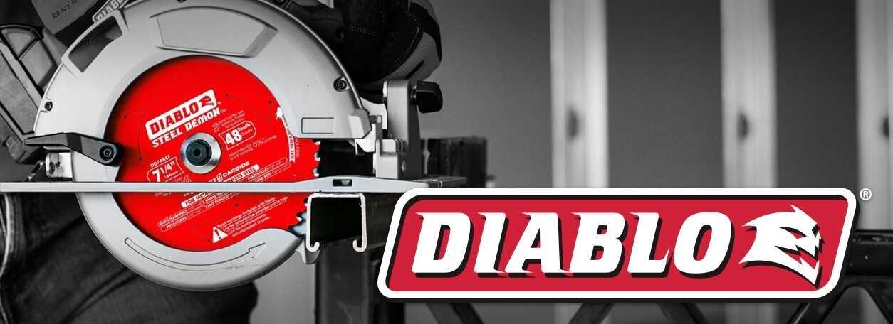 Diablo logo with Diablo saw blades in background