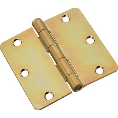 National 3-1/2 In. x 1/4 In. Radius Satin Brass Door Hinge
