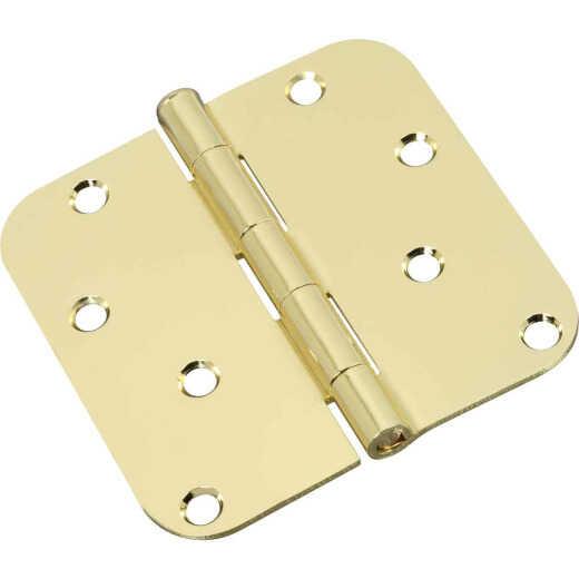 National 4 In. x 5/8 In. Radius Polished Brass Door Hinge